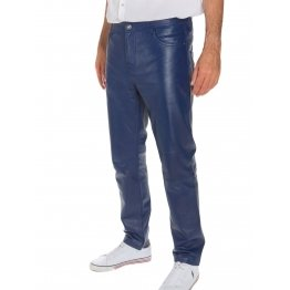 Mens Casual Semi Fitted Style Blue Leather Pants