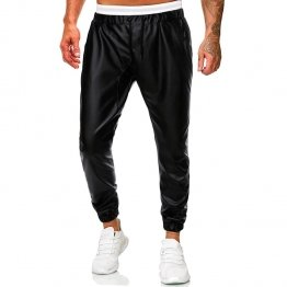 Men Casual Simple Black Leather Hombre Streetwear Joggers Pants