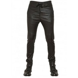 Men Casual Wear Skinny Fit Pure Black Leather Pants