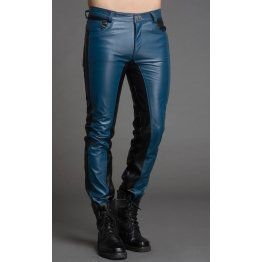Men Fashion Contrast Color Genuine Black and Blue Leather Pants