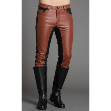 Men Fashion Contrast Color Genuine Black and Brown Leather Pants