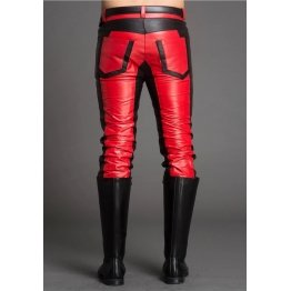 Men Fashion Contrast Color Genuine Black and Red Leather Pants