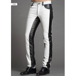 Men Fashion Contrast Color Genuine Black and White Leather Pants