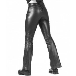 Men Fashionable Straight Legs Black Leather Trousers Pant