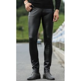 Men Fashionable Young Tight Genuine Black Leather Pants