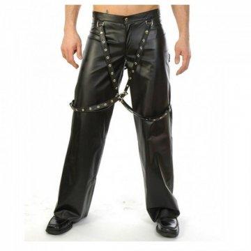 Men Gothic Black Genuine Leather Biker Suspender Buckle Bondage Pant