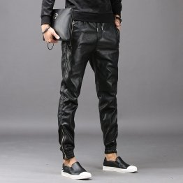 Men High Street Fashion Black Leather Casual Pant