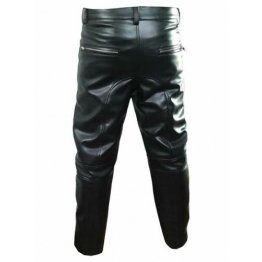Men Motorcycle Real Black Leather Bikers Jeans Trousers Pants