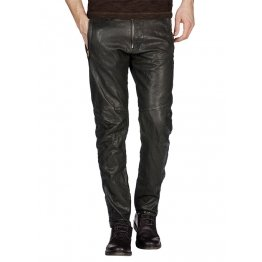 Men Regular Fit Casual Outerwear Black Leather Pants