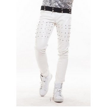 Men Singer Nightclubs Pure White Leather Trousers Pants