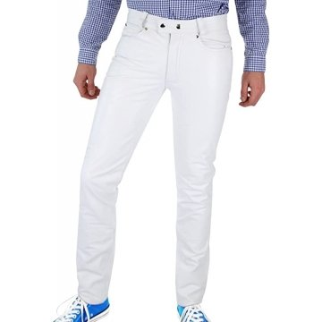 Men Tight Tube White Leather Trouser Jeans Pants
