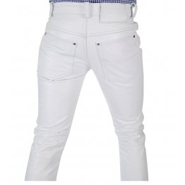 Men Tight Tube White Leather Trouser Jeans Pants