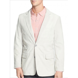 Men Two Button Soft Lambskin White Leather Blazer