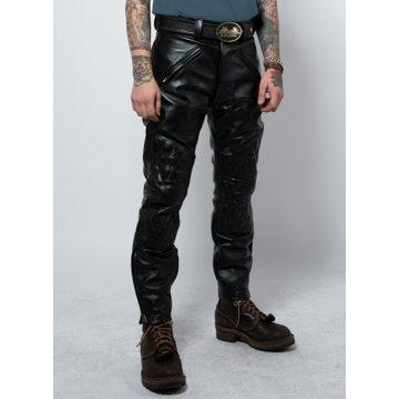 Men Vintage Genuine Black Leather Sports Rider Pant