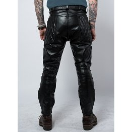 Men Vintage Genuine Black Leather Sports Rider Pant