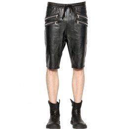 Men Zip Elastic Waistband Genuine Lambskin Black Leather Shorts