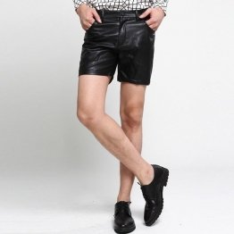 Mens Black Leather Hot Pants Shorts