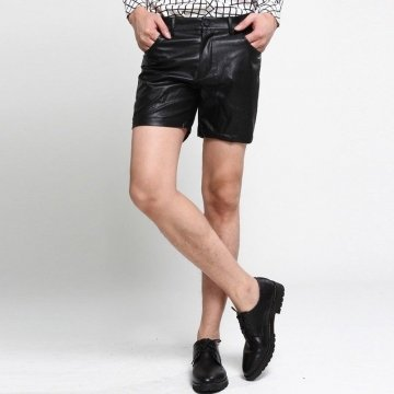 Mens Black Leather Hot Pants Shorts