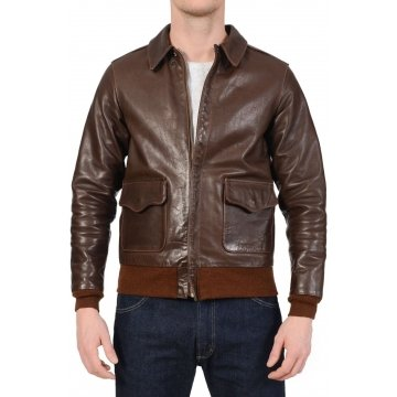 Mens Brown Real Leather Bomber Flight Jacket
