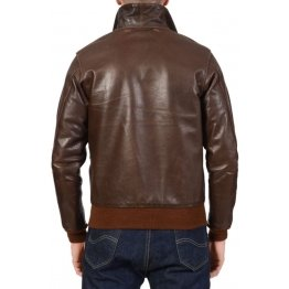 Mens Aviator A-2 Jacket Brown Real Leather Bomber Flight Jacket