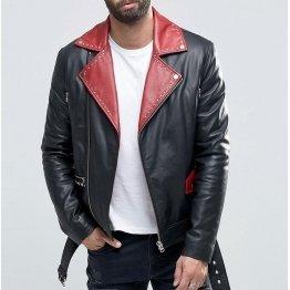 Mens Belted Black With Red Lapel Leather Biker Jacket