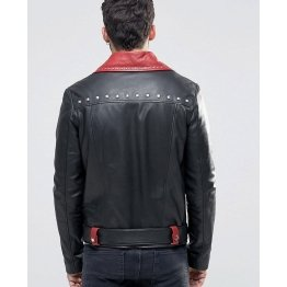 Mens Belted Black With Red Lapel Leather Biker Jacket