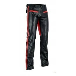 Mens Bootcut Fit Black Red Leather Pants Trouser