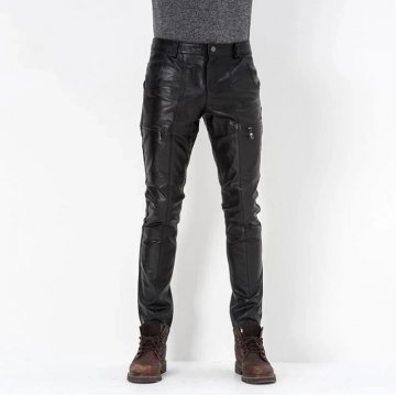 Mens Business Casual Slim Fit Genuine Black Leather Pants