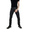 Mens Button Closure Black Leather Trouser Jeans Pants