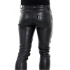 Mens Button Closure Black Leather Trouser Jeans Pants