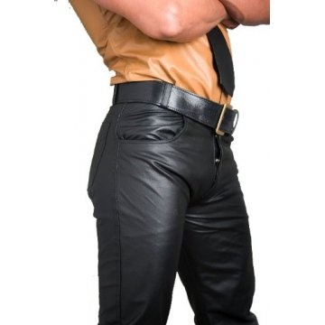 Mens Button Fly Classic Jeans Style Black Leather Pants