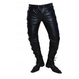 Mens Casual Custom Made Real Black and Red Leather Motorbike Pants