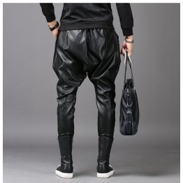 Mens Casual Fashion Slim Harem Black Leather Trousers Pants