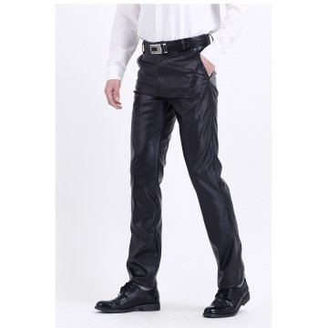 Mens Casual High Waist Real Black Leather Pants