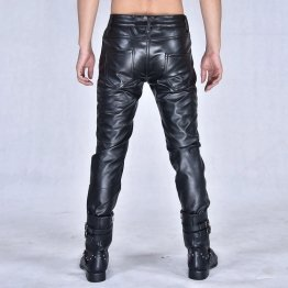 Mens Casual Nightclub Leisure Genuine Black Leather Pants