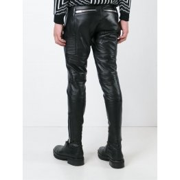 Mens Casual Real Black Leather Biker Trousers Pants
