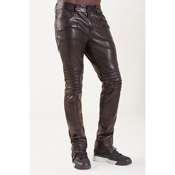 Mens Casual Skin Tight Fit Dark Brown Leather Pants