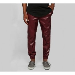 Mens Casual Street Style Motorbike Real Burgundy Leather Jogger Pants