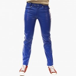 Mens Casual Wear Genuine Blue Leather Pants