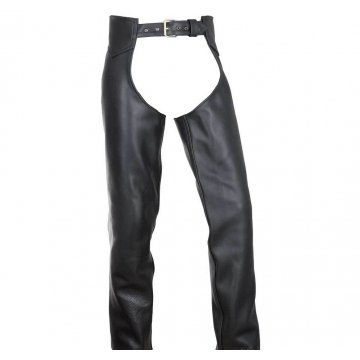 Mens Classic Black Leather Motorcycle Riding Chaps