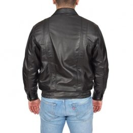 Mens Classic Fit Casual Style Soft Black Leather Bomber Jacket