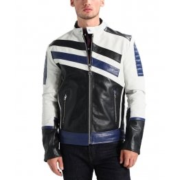 Mens Classic Genuine Lambskin Navy White Leather Biker Jacket