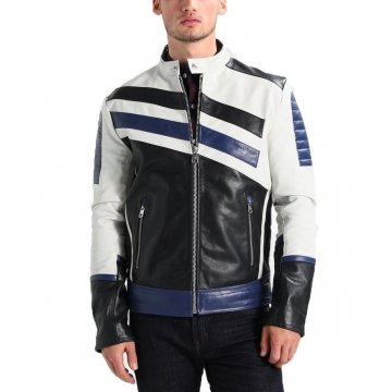 Mens Classic Genuine Sheepskin Navy White Leather Biker Jacket