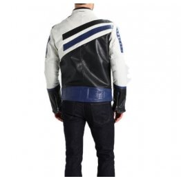 Mens Classic Genuine Sheepskin Navy White Leather Biker Jacket