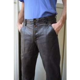 Mens Classic Genuine Soft Dark Brown Leather Straight Pants
