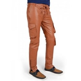 Mens Classic Genuine Soft Pure Tan Leather Cargo Pants
