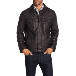Mens Classic Long Sleeves Real Black Leather Trucker Jacket