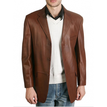 Mens Classic Three Buttoned Brown Leather Blazer