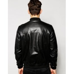 Mens Classic Zippered Pure Black Leather Bomber Jacket