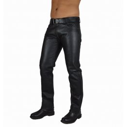 Mens Comfortable Fit Real Genuine Black Leather Pants